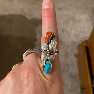 Vintage coral and turquoise garden ring 6